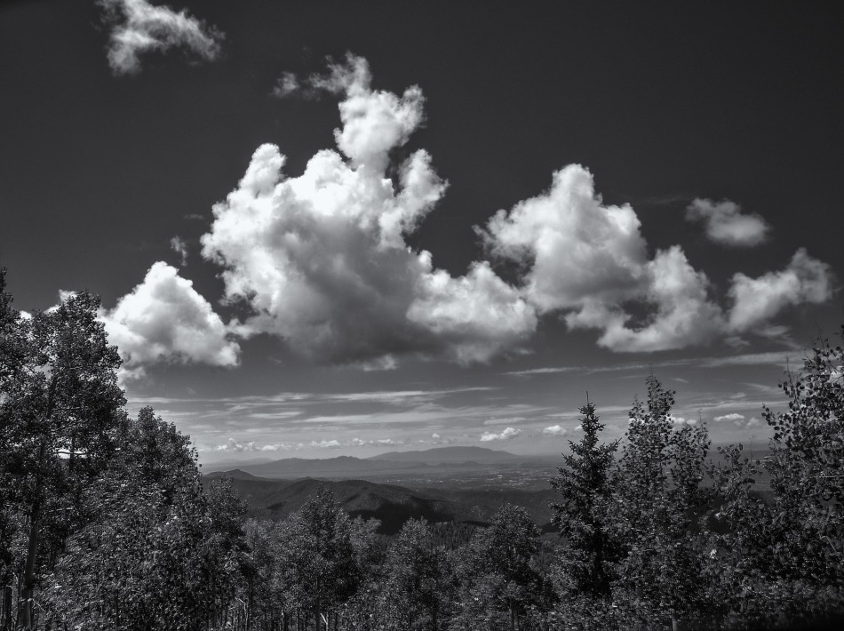 Clouds Over Santa Fe Valley-BW