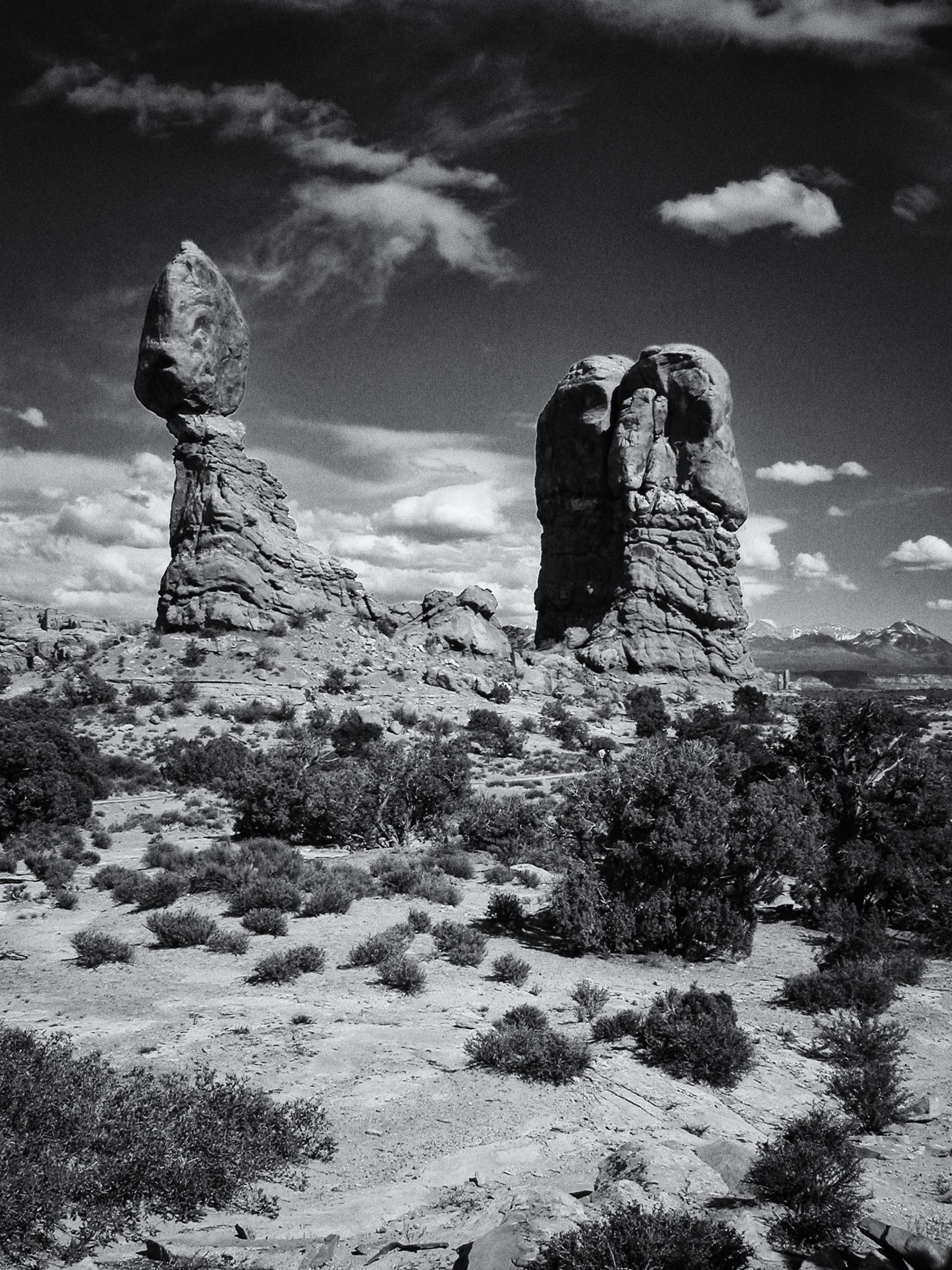 Hoodoos in Arches National Park - BW